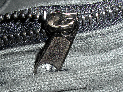 Zipper sewn into seam